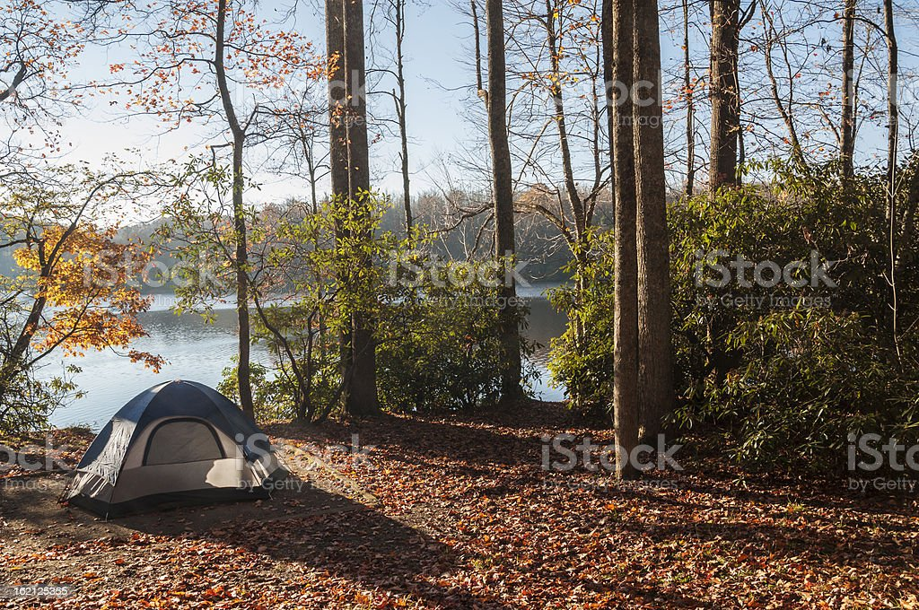 Tent pitched in the woods for camping by the lake stock photo