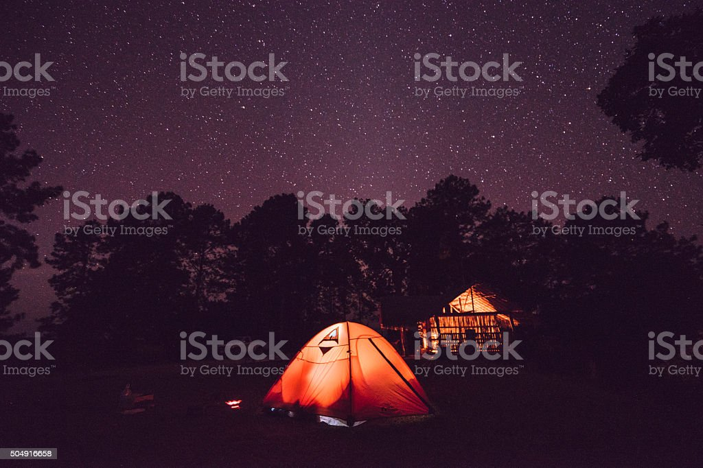 Tent unde starry sky stock photo
