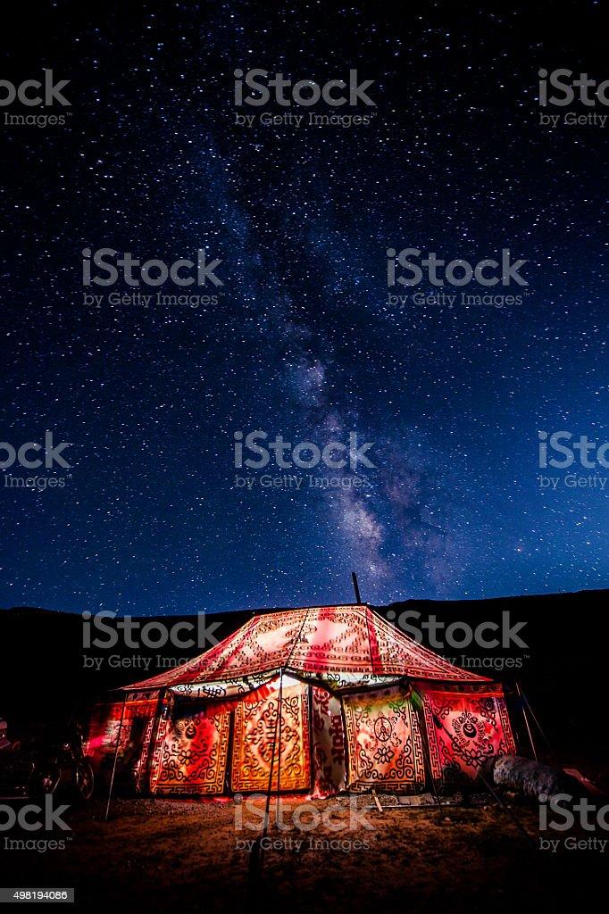 Tent under the stars stock photo
