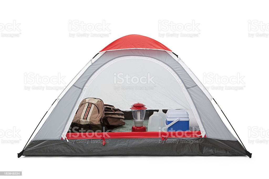 Tent with Backpacks and Supplies royalty-free stock photo