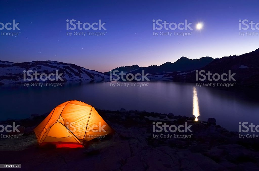 Tent with moon reflection royalty-free stock photo