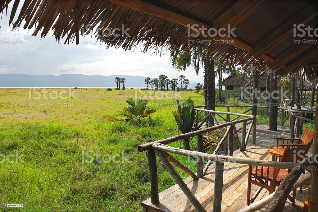 Tented Safari Lodge Overlooking Lake Manyara National Park stock photo