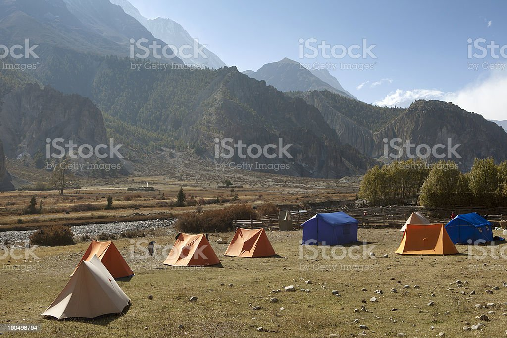 Tents arranged on the himalayas royalty-free stock photo