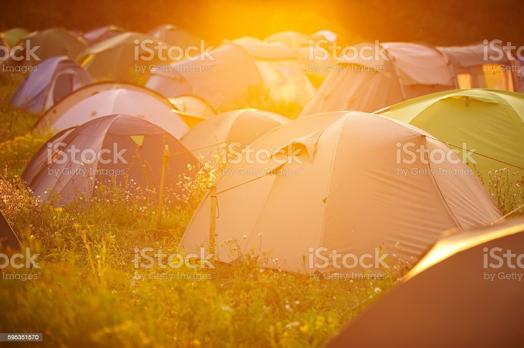 Tents at a festival campsite stock photo