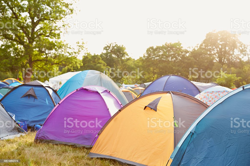 Tents at a music festival campsite stock photo