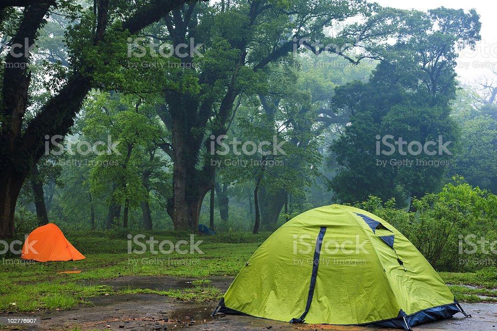 Tents at Dawn stock photo