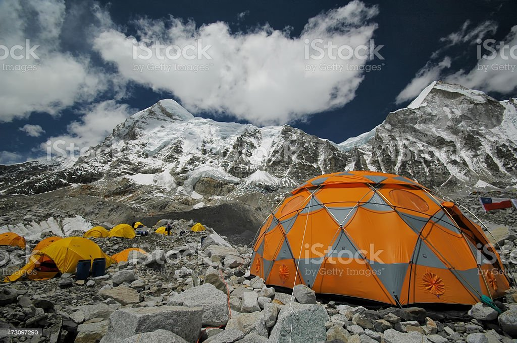 Tents in Everest Base Camp. Nepal Himalayas. stock photo