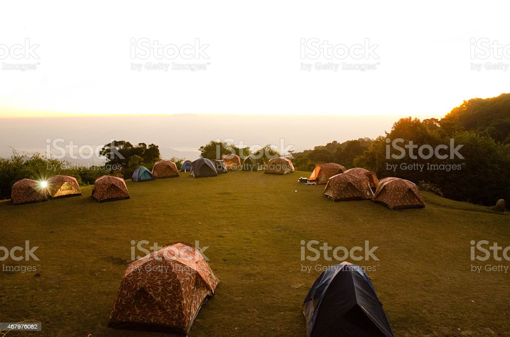 Tents in Huai Nam Dang National park  sitecamp stock photo