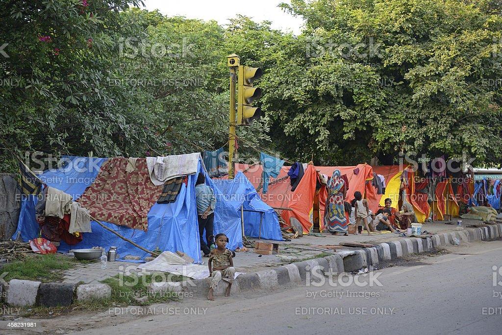Tents in old Delhi stock photo