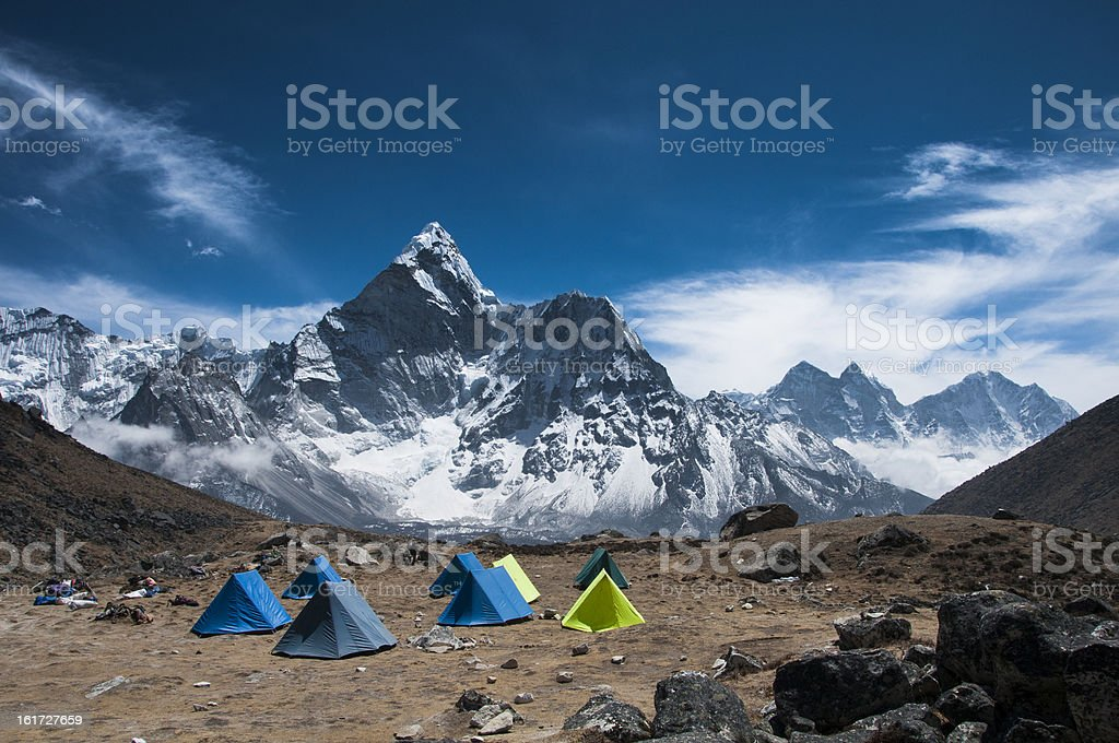 Tents in the Himalayas royalty-free stock photo