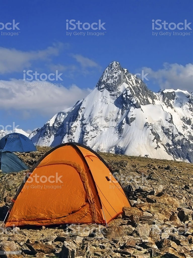 Tents of climbers high in the mountains royalty-free stock photo