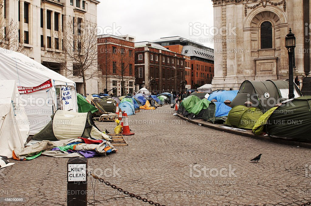 Tents of dissidents in London stock photo