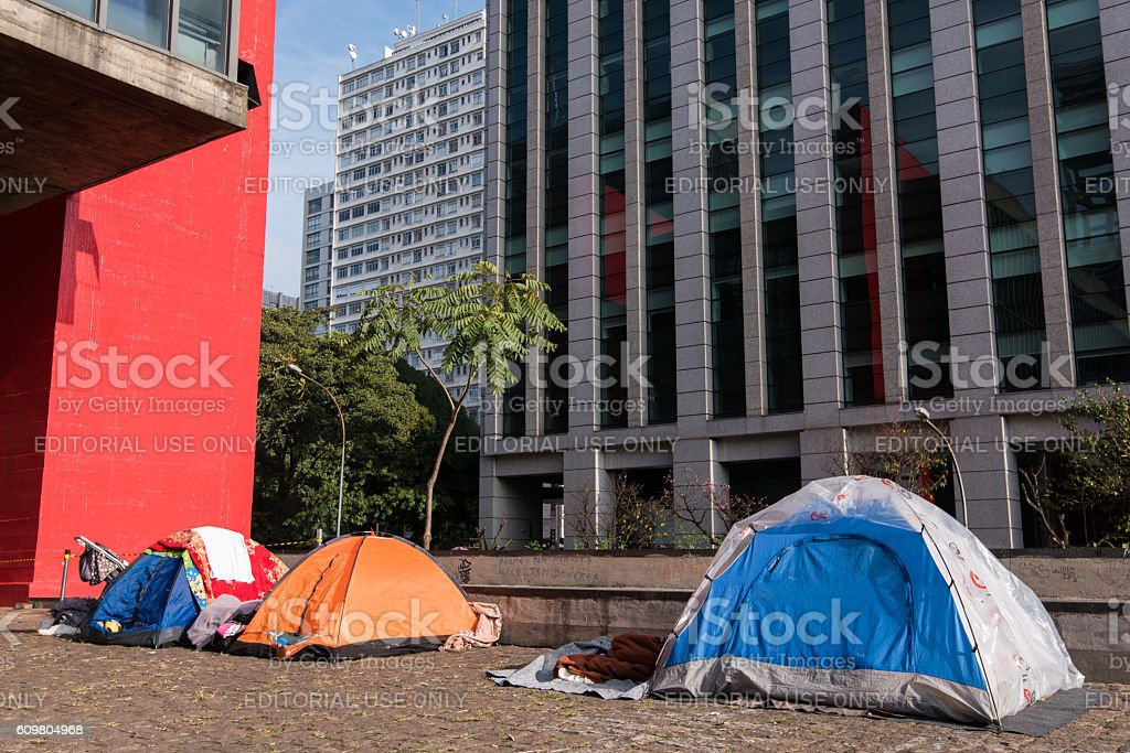 Tents of Homeless stock photo