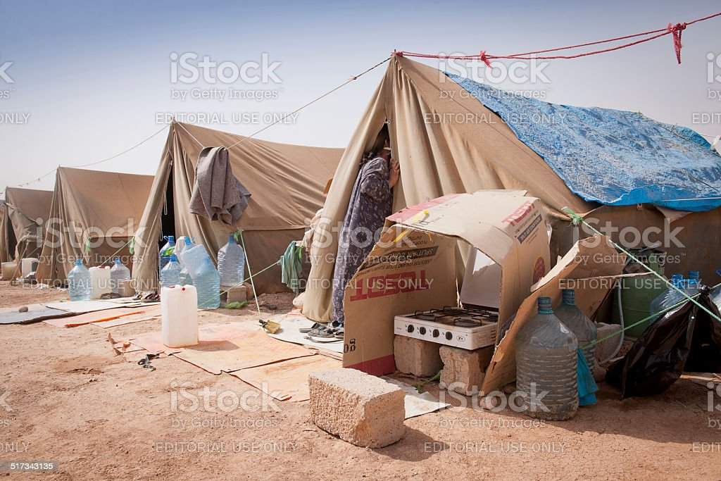 Tents of IDP camp in Iraq stock photo