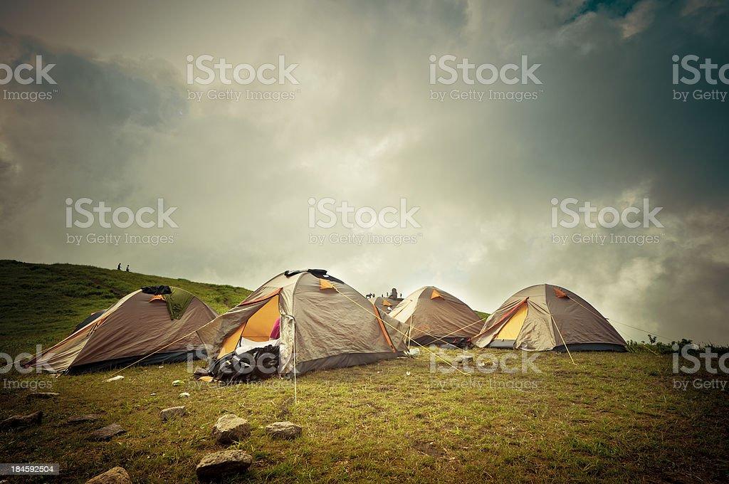 Tents of  travelers stock photo