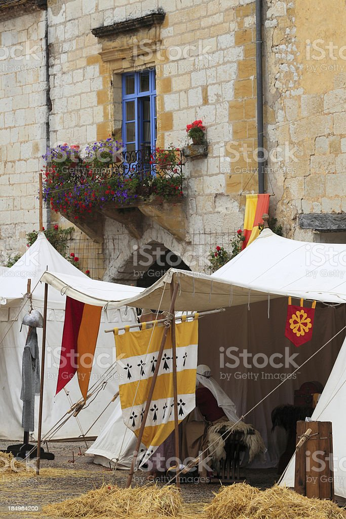 tents on a medieval festival in Monpazier stock photo