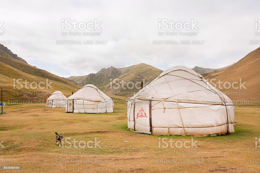 Tents Yurts - homes of nomadic asian people in Kyrgyzstan stock photo