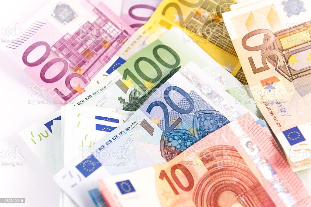 Ten,Twenthy,Fifth,Hundred,Two Hundred,Five Hundred Euro stock photo