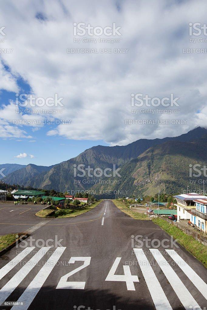 Tenzing-Hillary Airport in Lukla, Himalayas, Nepal. stock photo