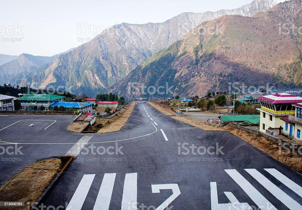 Tenzing-Hillary Airport in Lukla, Nepal. stock photo