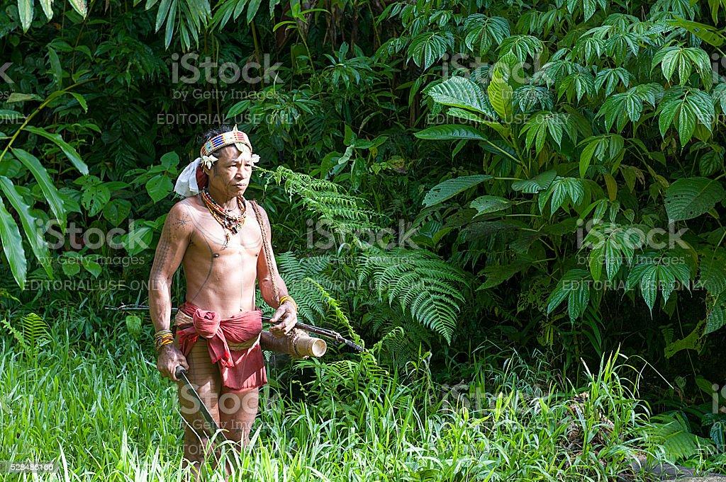 Teo Tak Gogo, 55, the Mentawai tribe stock photo