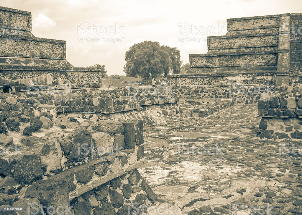 Teotihuacan ancient sacred mesoamerican city ruins in Mexico stock photo