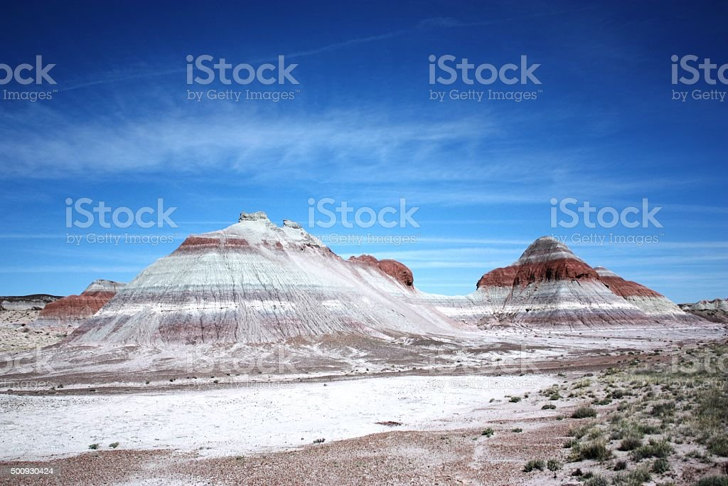 Tepees in Blue Mesa in Petrified Forest National Park, Arizona stock photo