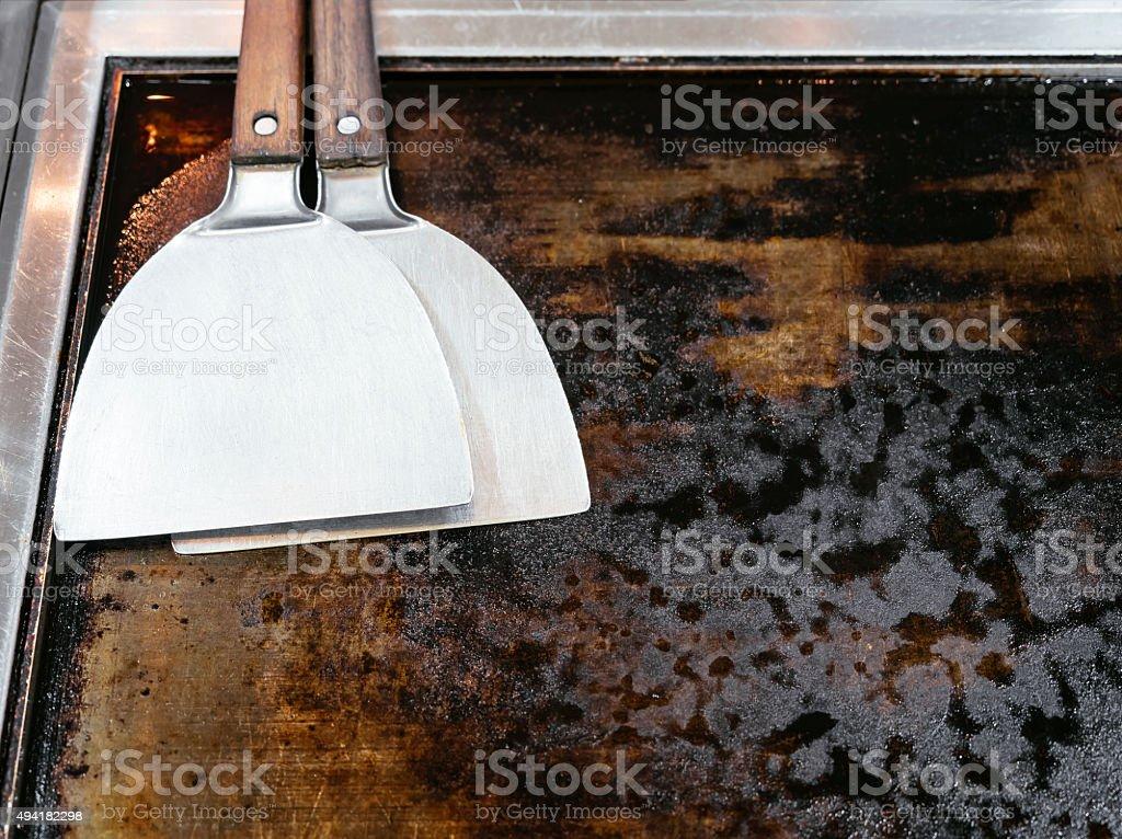 Teppanyaki Hotplate and Spatula stock photo