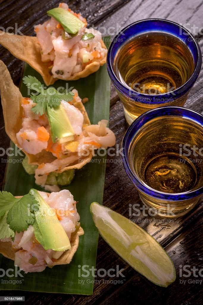 Tequila and Appetizers stock photo