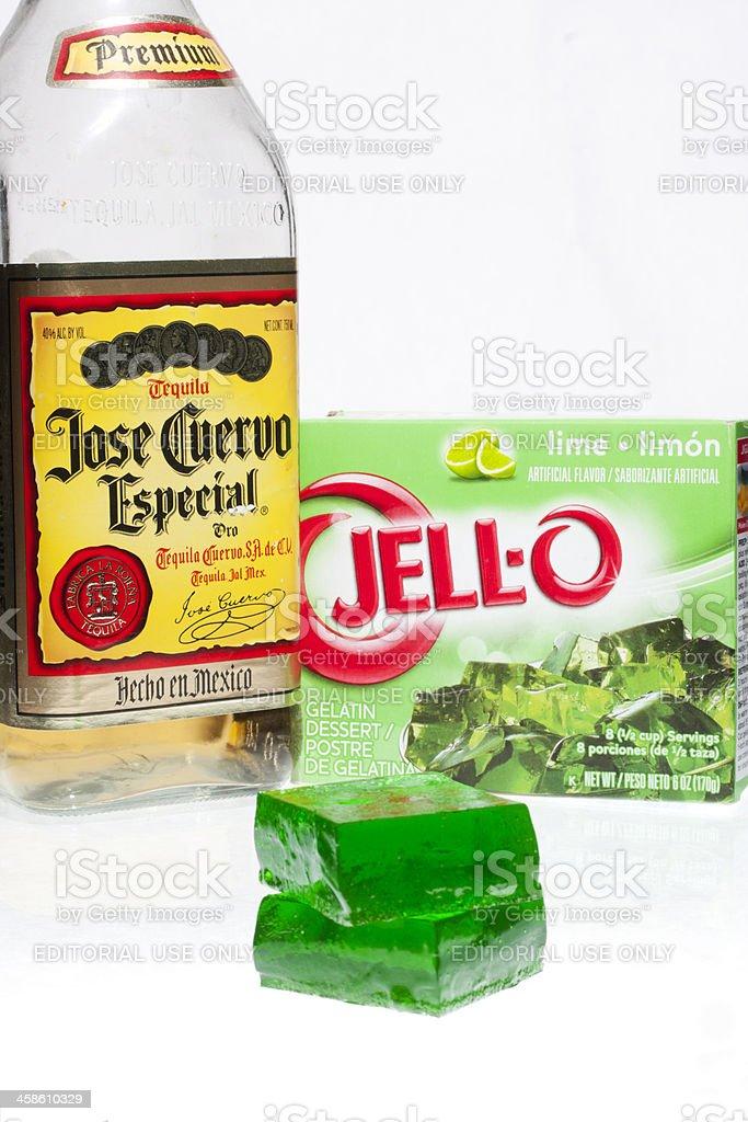 Tequila Lime Jello Jigglers stock photo