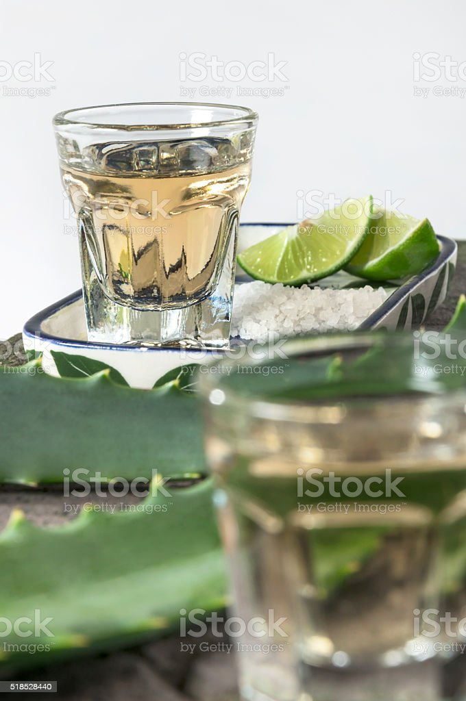 Tequila served shots - selective focus stock photo