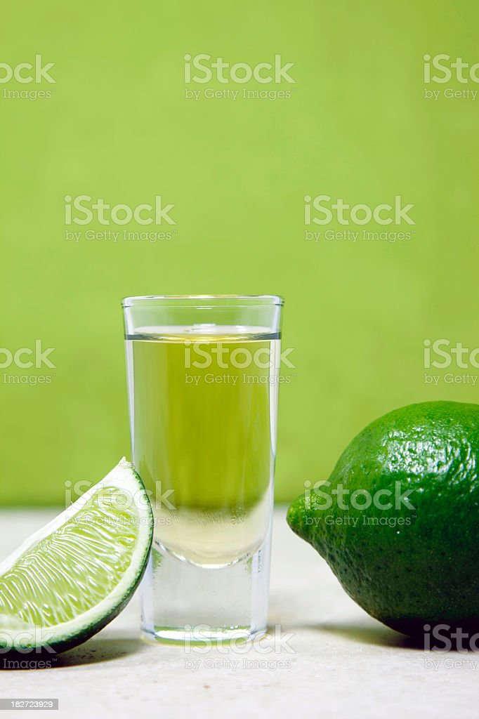 Tequila Shot on Green stock photo