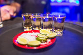 Tequila shots in the bar