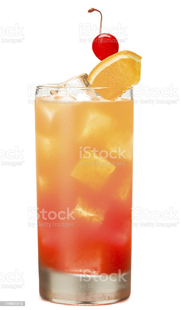 Tequila Sunrise Alcoholic Cocktail drink Isolated on White Background royalty-free stock photo