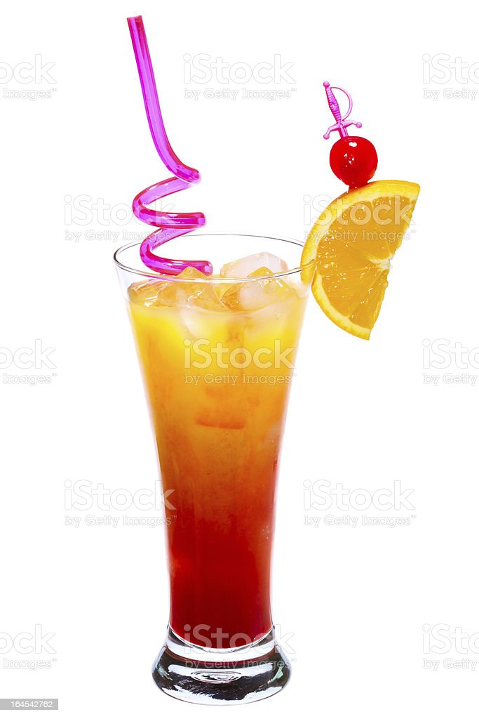 Tequila Sunrise Cocktail royalty-free stock photo
