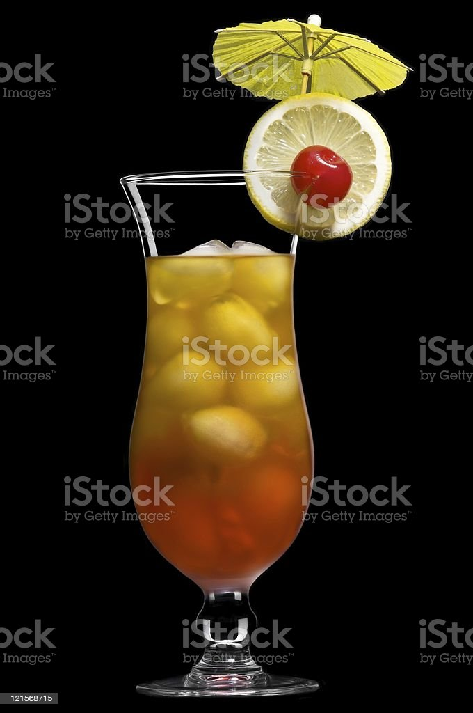 Tequila sunrise over black in a beautiful long drink glass royalty-free stock photo