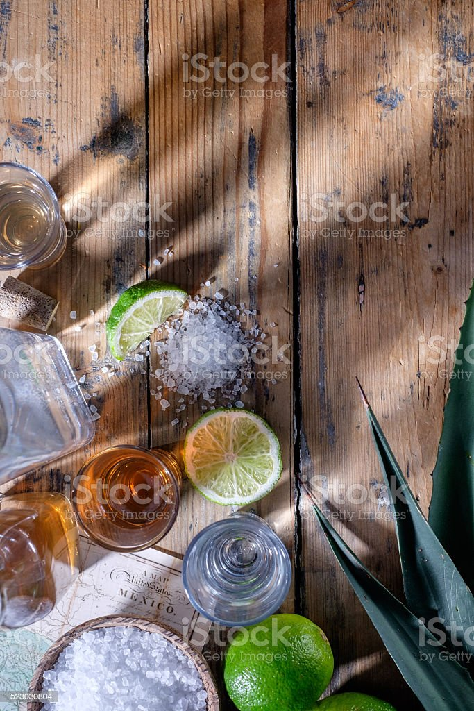 Tequila table top stock photo