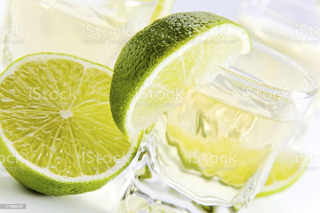 tequila with lime . royalty-free stock photo