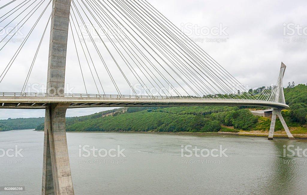 Terenez bridge in Brittany stock photo