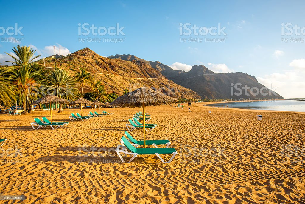 Teresitas beach near Santa Cruz de Tenerife stock photo
