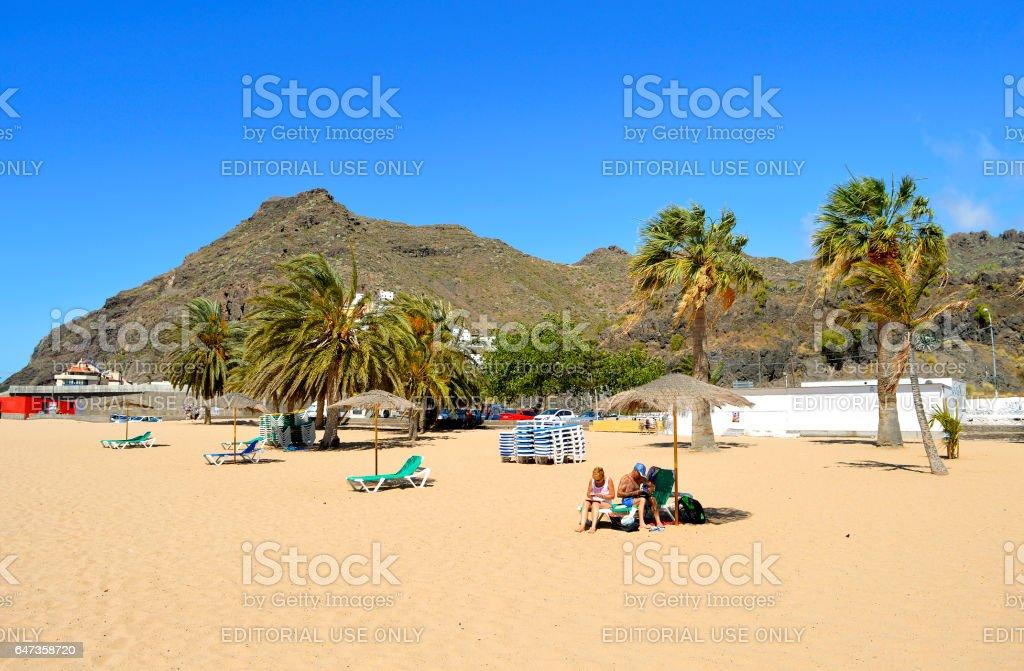 Teresitas beach tourists on the beach enjoying the sun stock photo