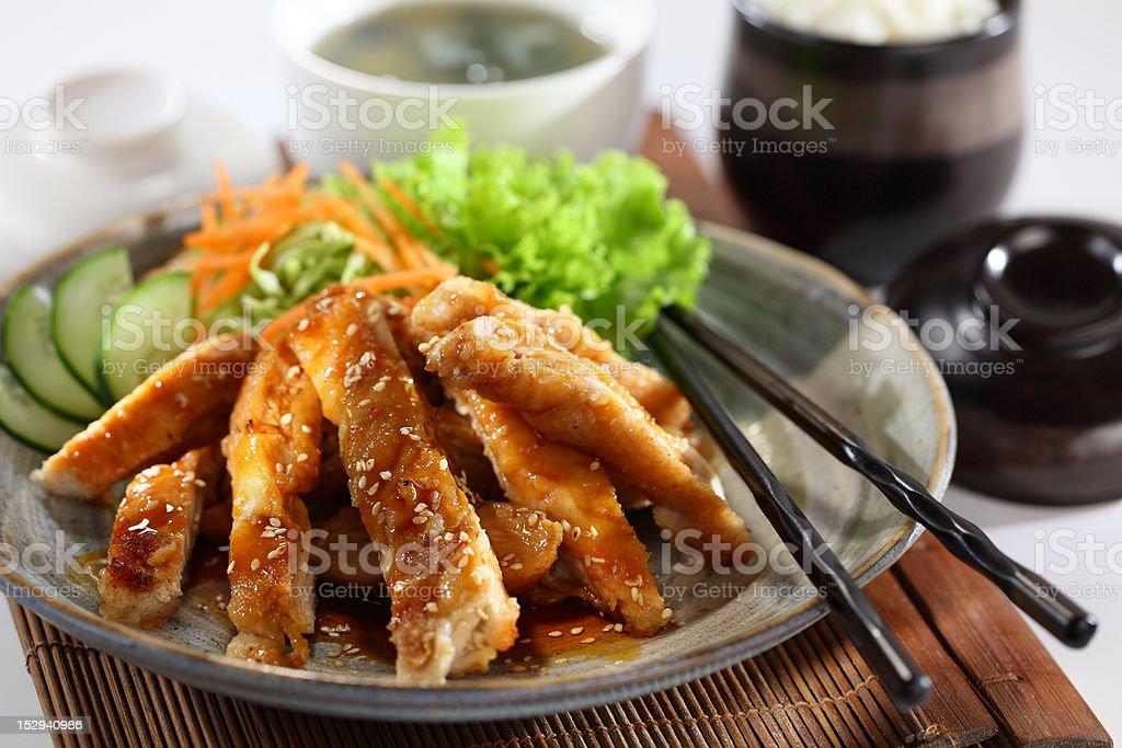 Teriyaki Chicken and Rice stock photo
