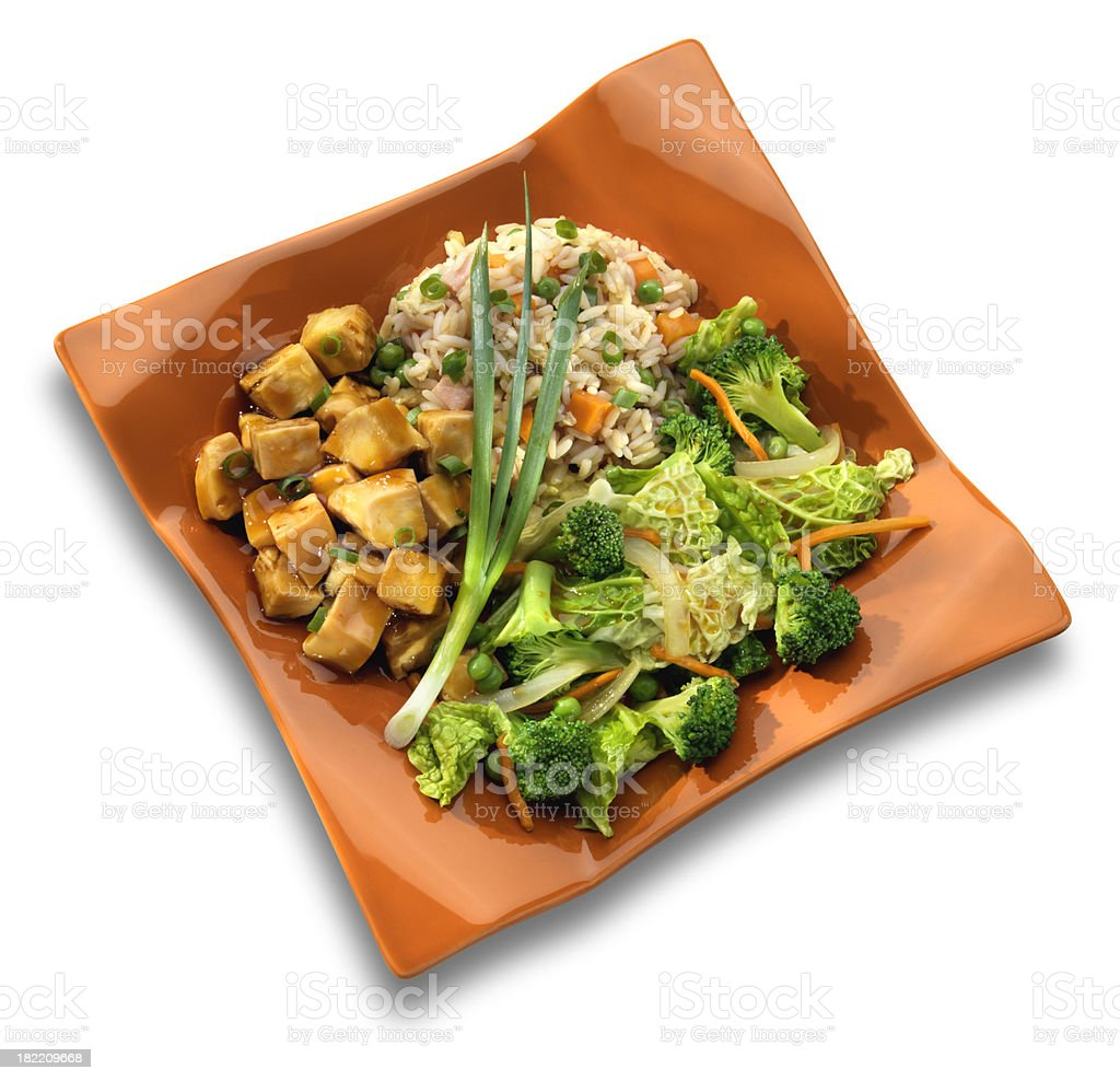 Teriyaki Chicken Meal, isolated on white royalty-free stock photo