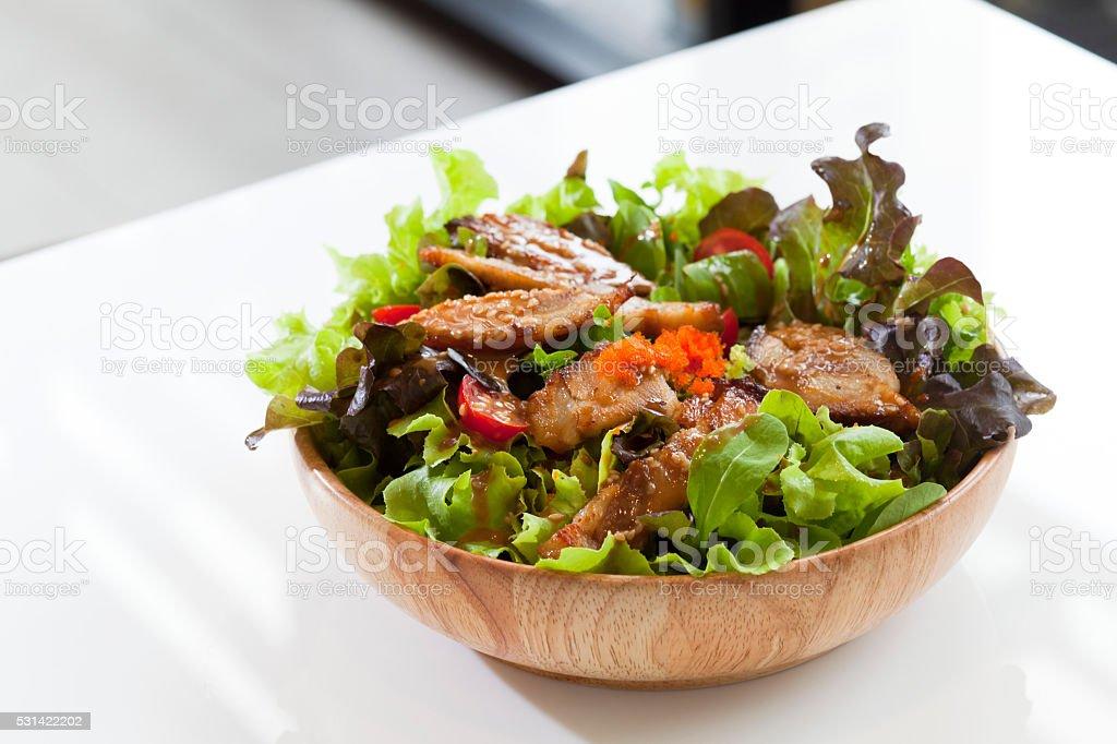 teriyaki chicken salad stock photo
