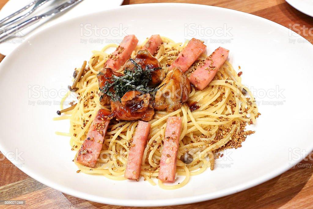 Teriyaki chicken spaghetti stock photo