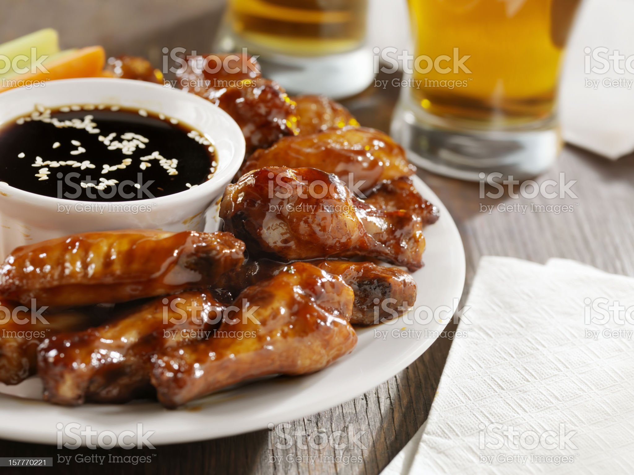 Teriyaki Chicken Wings and Beer royalty-free stock photo
