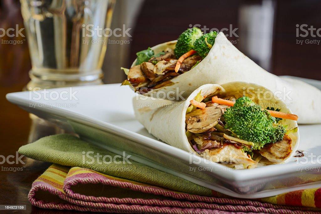 Teriyaki Chicken Wraps stock photo