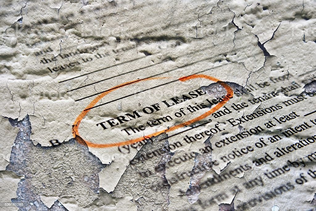 Term of lease stock photo