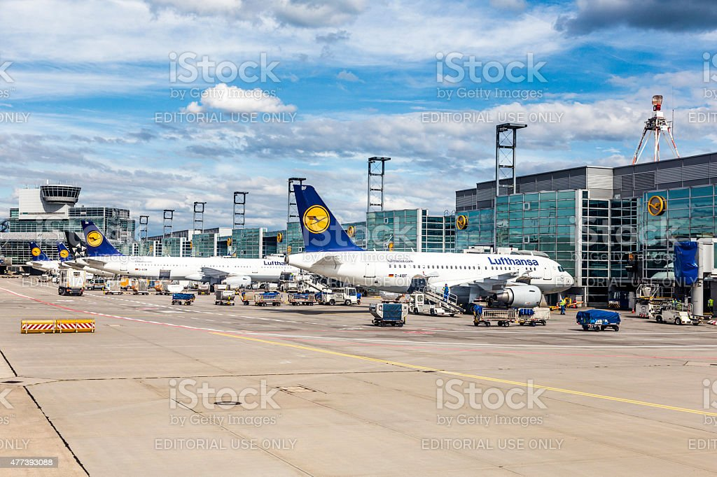 Terminal 1 with aircraft at gate in Frankfurt stock photo