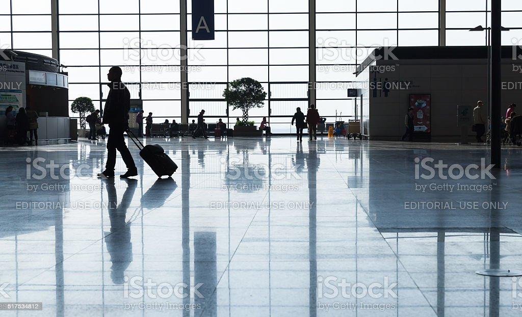 Terminal A of Shanghai Pudong International Airport stock photo